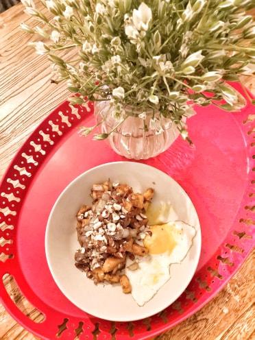 patate douce, oignons confits, noisettes